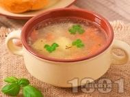 Рецепта Постна зеленчукова супа с картофи, моркови, домати и ориз без застройка